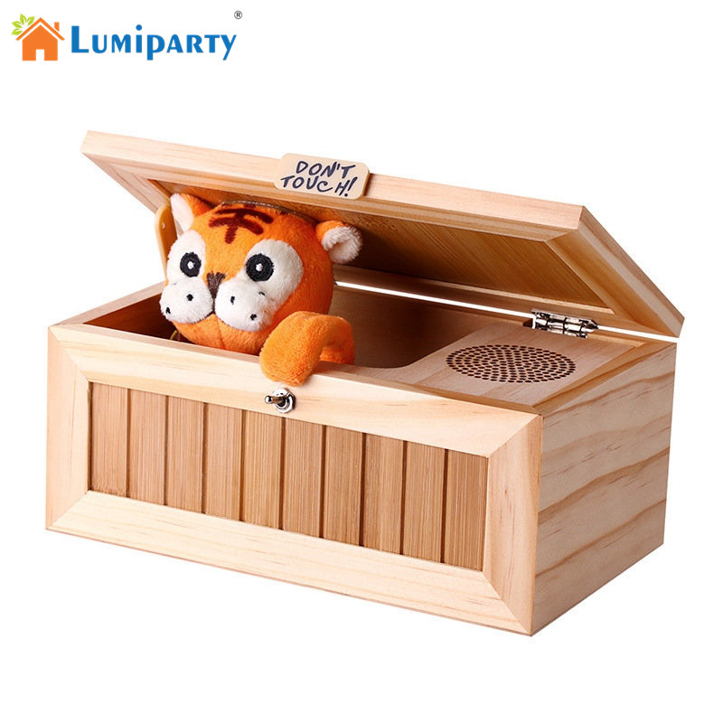 LumiParty Upgrade Wooden Electronic Useless Box with Sound Cute Tiger 10 Modes Funny Toy Gift Stress-Reduction Desk Decoration