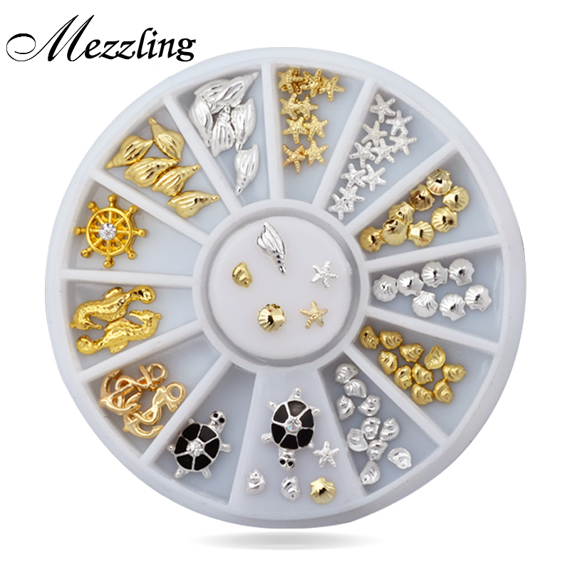 New 76pcs/set Cute Ocean Sea Life Gold Silver 3d Metal Alloy Nail Art Decorations Studs Wheel DIY Nail Rhinestone Jewelry Tools artlalic 1 wheel new 3d nail decorations tools charm perfume bottle flowers triangle rhinestones diy nail art jewelry promotion