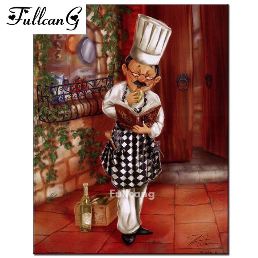 FULLCANG Cook <font><b>recipe</b></font> painting full square diy 5d <font><b>diamond</b></font> painting cross stitch kits mosaic embroidery painting home decor F363