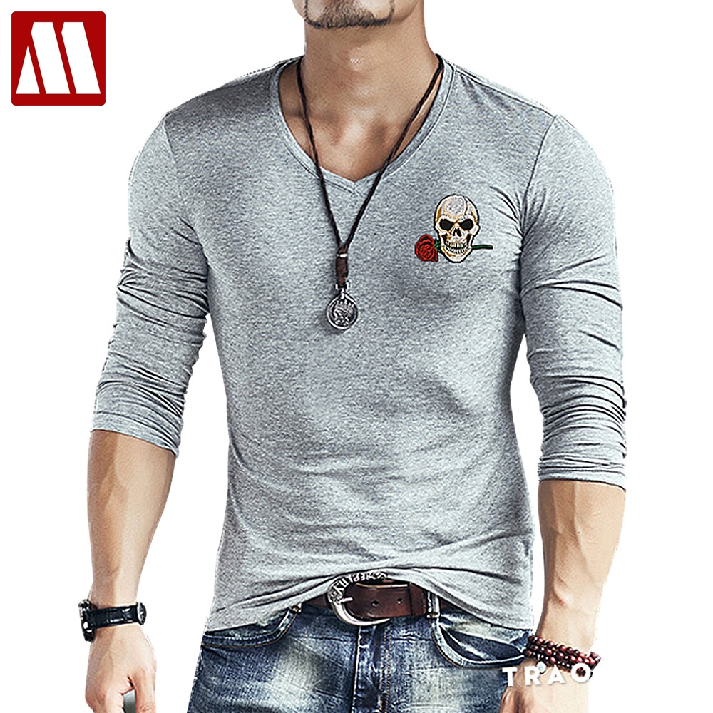 2017 new fashion brand skull embroidery slim fit long for Long sleeve fitted tee shirt