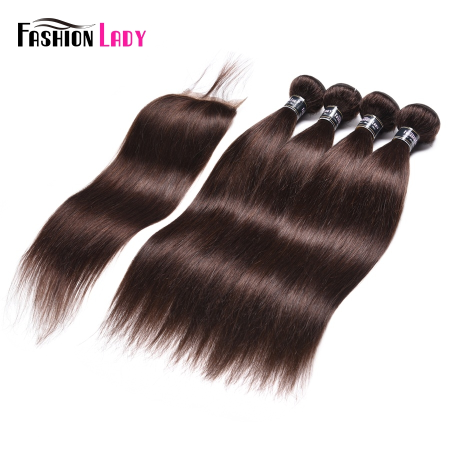 Fashion Lady Pre-Colored 4 Bundles With Lace Clousre 2# Natural Brown Color Indian Straight Human Hair Products Non-Remy Hair
