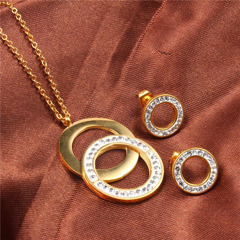 XUANHUA נירוסטה תכשיטי סטים לנשים תכשיטים אביזרי סט תכשיטי שרשרת סט דובאי כלה סט תכשיטים