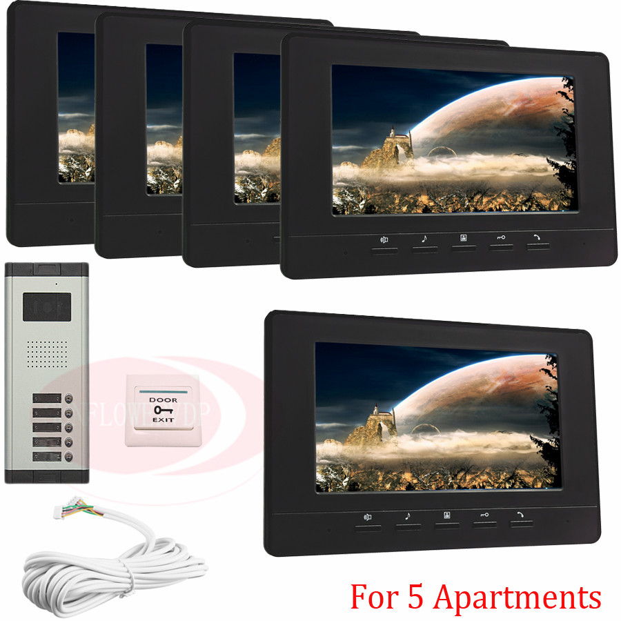 For 5 Apartments Luxury Home Color Video Door Phone Intercom Kit DoorBell 7 LCD Monitor DoorPhone IR Camera In Stock!
