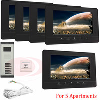 For 5 Apartments Luxury Home Color Video Door Phone Intercom Kit DoorBell 7 LCD Monitor DoorPhone