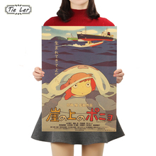 TIE LER Ponyo on The Cliff Kraft Paper Classic Cartoon Film Poster Home Decor Wall Sticker 50.5X35cm