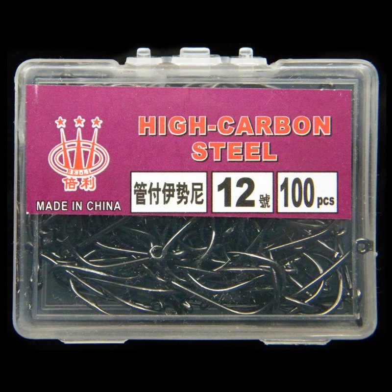 ペシェ 100 ピース/箱高炭素鋼釣り針有刺フック鯉釣りボックスペスカアクセサリー