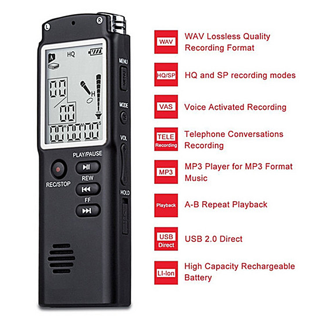 Marsnaska Newest 8GB Voice Recorder USB Professional 96 Hours Dictaphone Digital Audio Voice Recorder With for WAV,MP3 Player