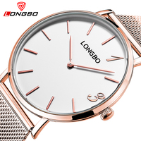 LONGBO Brand Fashion Simple Watches Men Women Luxury Ultra Thin Relogio Watch Gold Lovers Stainless Steel