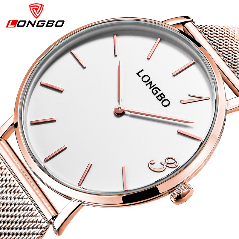 LONGBO Brand Fashion Simple Watches Men Women Luxury Ultra thin Relogio Watch Gold Lovers Stainless Steel Clocks 5072 new arrival longbo 5072 fashion women men quartz watch stainless steel mesh band simple wrist wacthes for lover luxury top brand