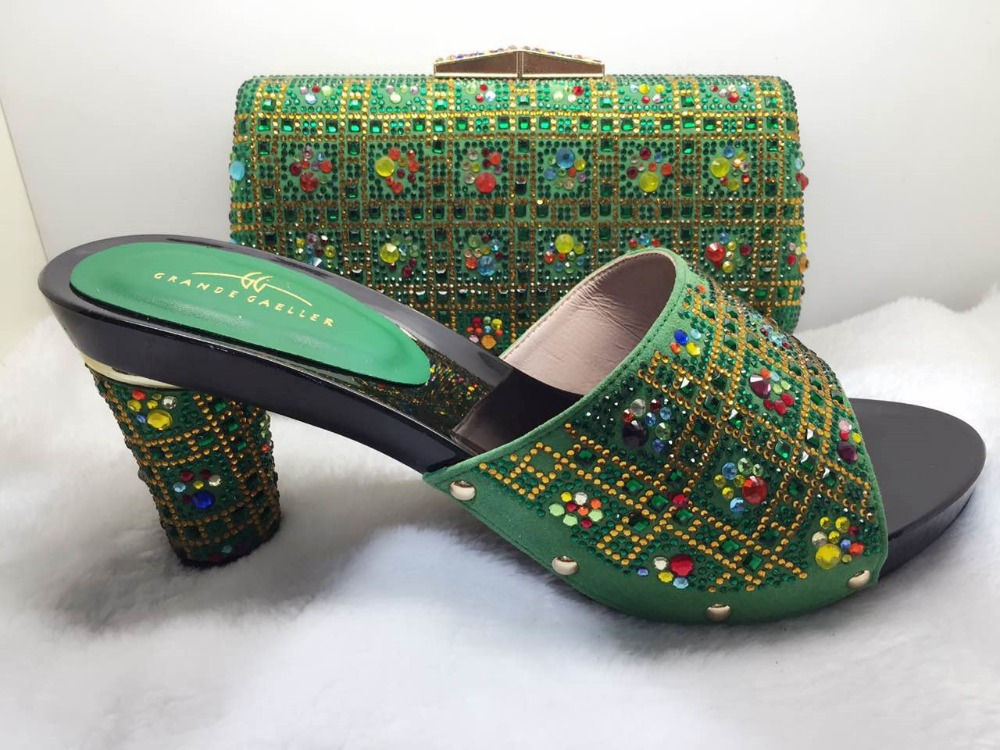 ФОТО Nigerian Bags And Matching Shoes Set With Stone African Women Shoes And Bags Set To Match Ladies Shoes For Wedding TT90-22