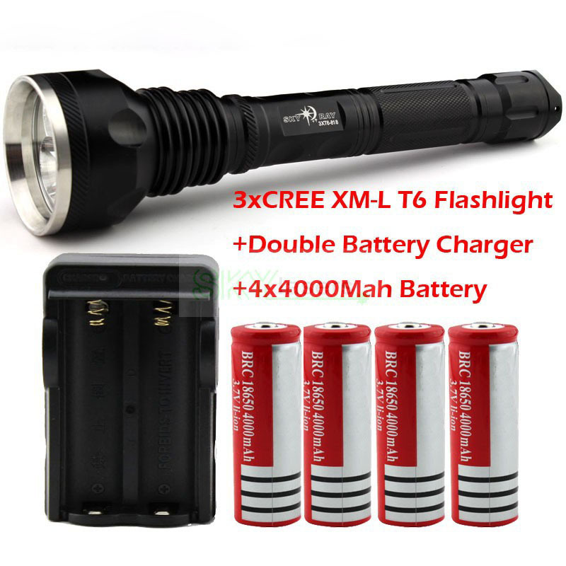 Wholesale SKY RAY 4000 Lumens 3T6 3 x CREE XM-L XML T6 LED Flashlight Torch +4* 4000Mah18650 Battery + Double Battery Charger crazyfire led flashlight 3t6 3800lm cree xml t6 hunting torch 5 mode 2 18650 4200mah rechargeable battery dual battery charger page 7
