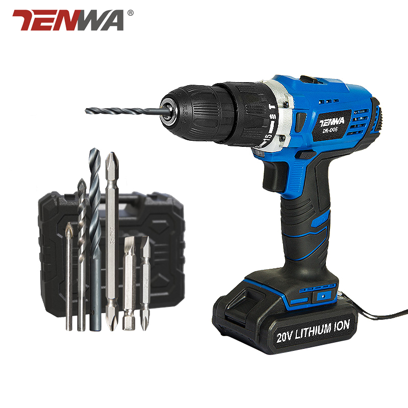 TENWA 2 Speed Impact Electric drill 20V power tools Electric Cordless Drill Household Lithium Ion Battery Cordless Drill