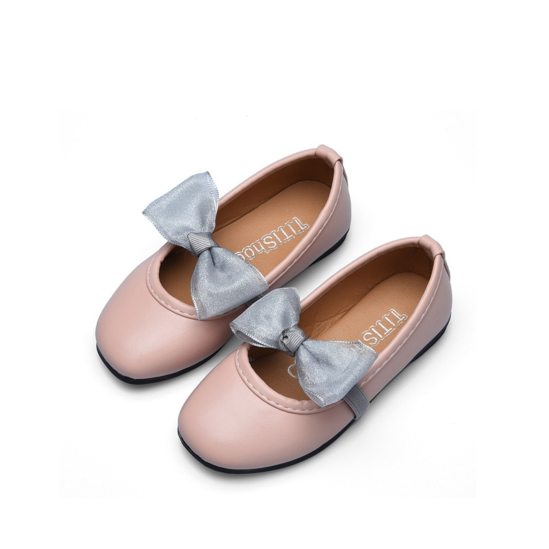 Chidlren Girls Shoes Kids Baby Princess Shoes with Bow 2018 Spring/Autumn Girls Butterfly Leather Single Peas Shoes