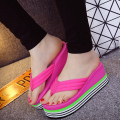 Summer women fashion slope with clip ribbon flip flops high-heeled slippers  rainbow thick bottom Muffin comfortable slipper