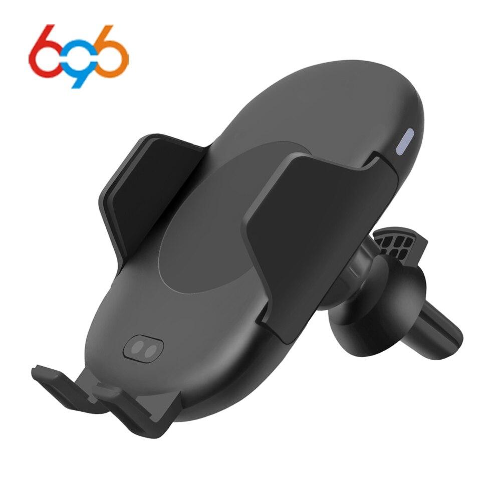 696 C10 QI inalámbrica rápida cargador de coche 10 W automático de infrarrojos de inducción de aire titular del teléfono del coche para iPhone Samsung de carga rápida