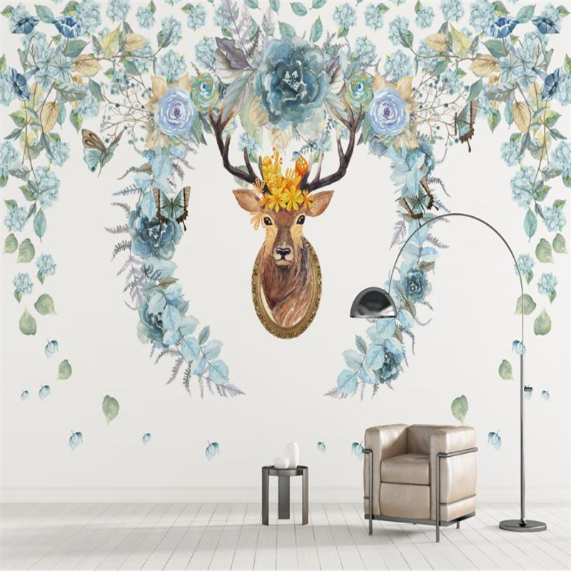 European Style Wallpapers 3D Custom Flowers Murals Hand Painted Walls Papers Photo Elk for Living Room TV Background Home Decor