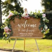 Добро пожаловать в наш навсегда Персонализированная наклейка деревенское свадебное украшение, свадьба Добро Пожаловать Знак пользовательское имя и дата виниловая наклейка