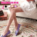 Rosa de impresión medias de seda ultra-delgado de la vendimia atractiva chica medias de las mujeres pantyhose de seda femenina