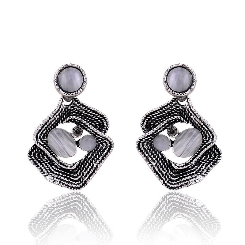 Elegant Cat Eye Stone Stud Earrings Irregular Anti Silver Metal Piercing Earring Women Wedding Jewelry Christmas Gift for Girls