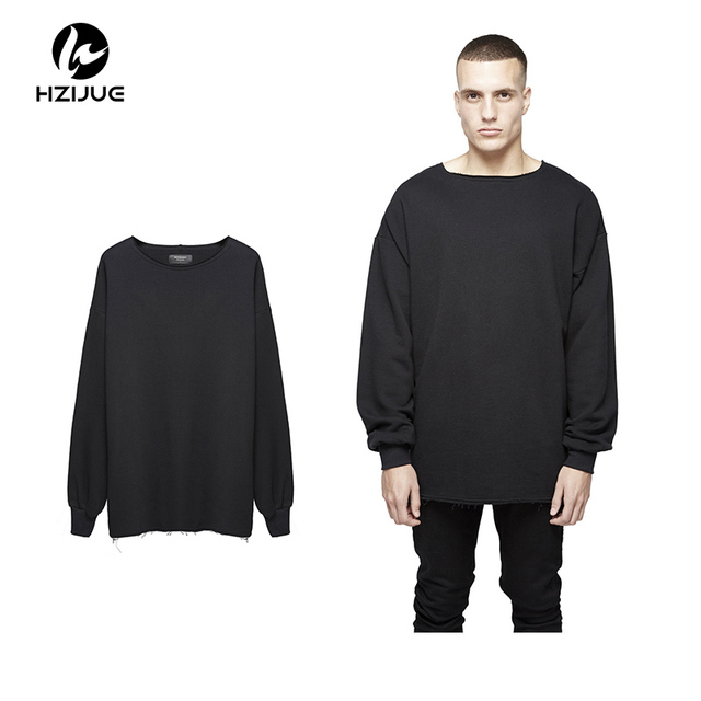 HZIJUE 2017 Oversize Man Worn Pure Color Drop-shoulder Hoodies Sweatshirts Hip Hop Streetwear Fashion Men Hoodies S-XL
