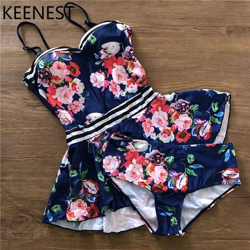 KEENEST 2018 Tankini Set Filwer Blue Swimwear Women Two Pieces Swimsuit