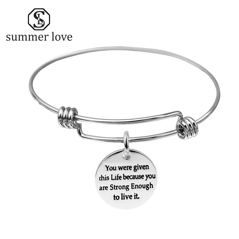 Initial Expandable Wire Bangle Bracelet Adjustable Stainless Steel ...