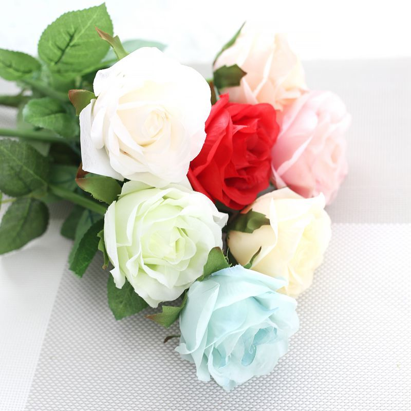 Diy  Artificial Rose Flower Lint Real Like Simulation Rose Bouquet With Single Stem For Wedding Bridal Party Home Decoration