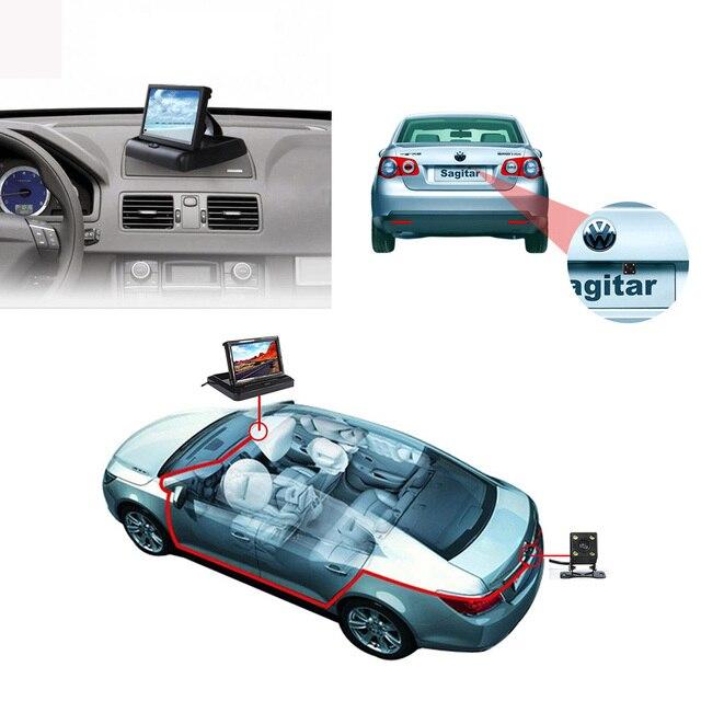 5 дюймов цвет складная TFT LCD дисплей формата 16:9 DC 12 В 2 видеовхода вид сзади автомобиля монитор подголовник комплект из светодиодов ночного видения HD