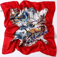 Chinese Red Women Large Square Silk Scarfs Shawl Colorful Fish Printed 100 Silk Scarf Wraps Luxury
