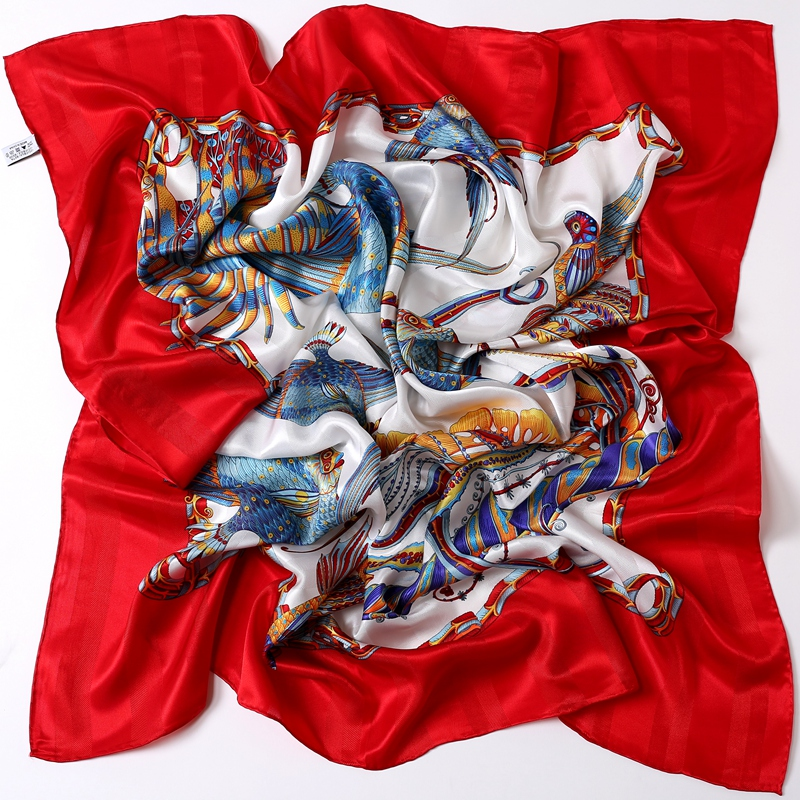 Chinese Red Women Large Square Silk Scarfs Shawl Colorful Fish Printed 100% Silk   Scarf     Wraps   Luxury Hand Rolled Xmas Gifts NEW
