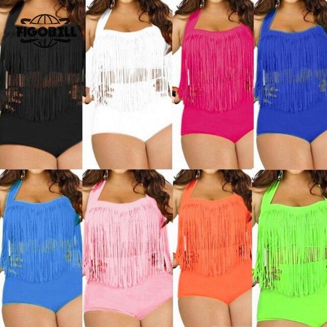 670089fe4b948 FIGOBELL HOT Sale Plus Size Bikini Set Women Swimsuit Sexy Retro Push Up  Tassel High Waist