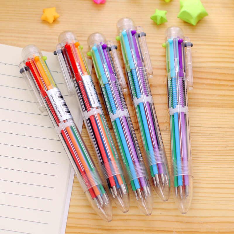 Couleur multi match stylo 6 en 1 Gel stylo ensemble clé Kawaii fournitures scolaires bureau papeterie Album Photo Kawaii stylos école papeterie