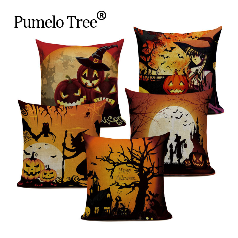 European Style Halloween Series Cushion Cover happy day Throw Pillow Skull Halloween Pumpkin Faces Sofa Bedroom Home Decorative