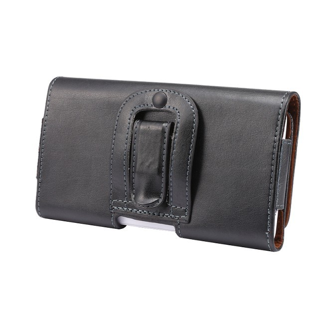 Genuine Leather Pouch HORIZONTAL BLACK Holder Belt Clip Holster Case For Samsung GALAXY S7