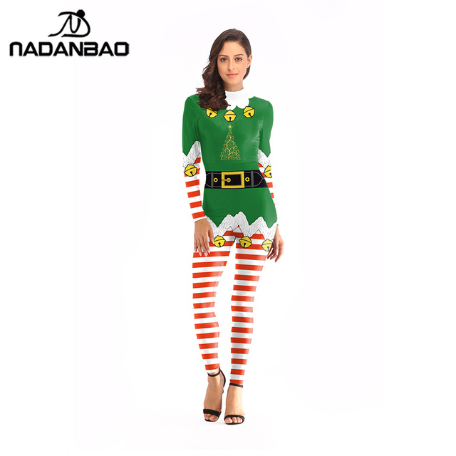 6cefc34481eec NADANBAO Belt Printed Jumpsuit Christmas Costume Cosplay Striped Small Bell  Costumes For Women Plus Size Bodysuit