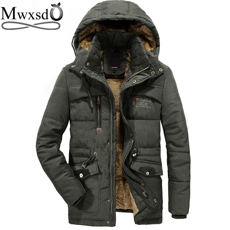 Mwxsd -40 Degree Casual Mens Hooded Fur Collar Parka Jacket Men Warm Thick Cotton Fur Parkas Male Military Outdoor Warm Jacket