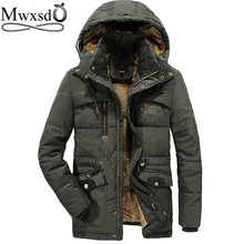 mwxsd  40 degree casual Mens Hooded Fur collar Parka Jacket Men Warm thick cotton fur parkas male military outdoor warm jacket