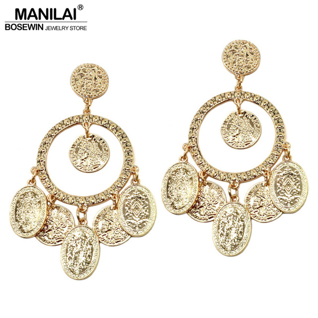 Manilai Ethnic Style Coin Drop Earrings Women Gold Color Metal Dangle Bohemia Jewelry Statement