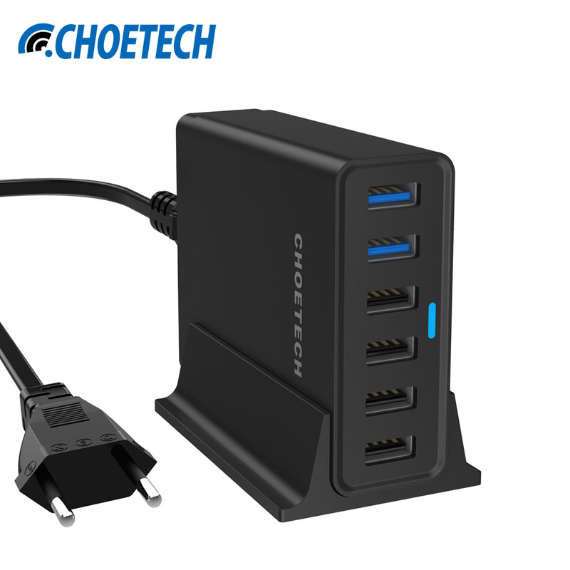 imágenes para CHOETECH Carga Rápida 3.0 Cargador USB 50 W 10A 6 USB Multi-Puerto Estación de carga Con el Cable Micro Para la Galaxia para el iphone para Nexus
