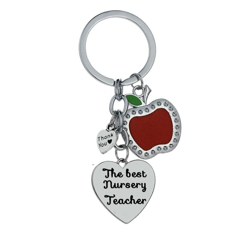 12 Teil/los Die Beste Kindergarten Lehrer Liebe Herz Apple Charme Keychain Schlüssel Ring Tag Der Lehrer Wertschätzung Geschenk Schmuck Schlüsselring