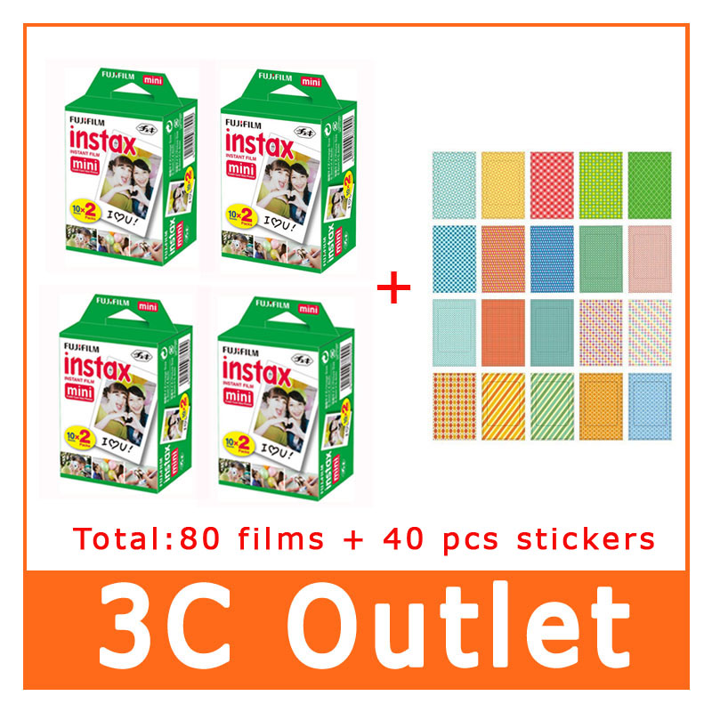3 Inch Instant Fujifilm 80 Sheet + 40 PCS Sticker For Fujifilm Instant Camera For Mini 7S 8 25 50S 90 70 SP-1