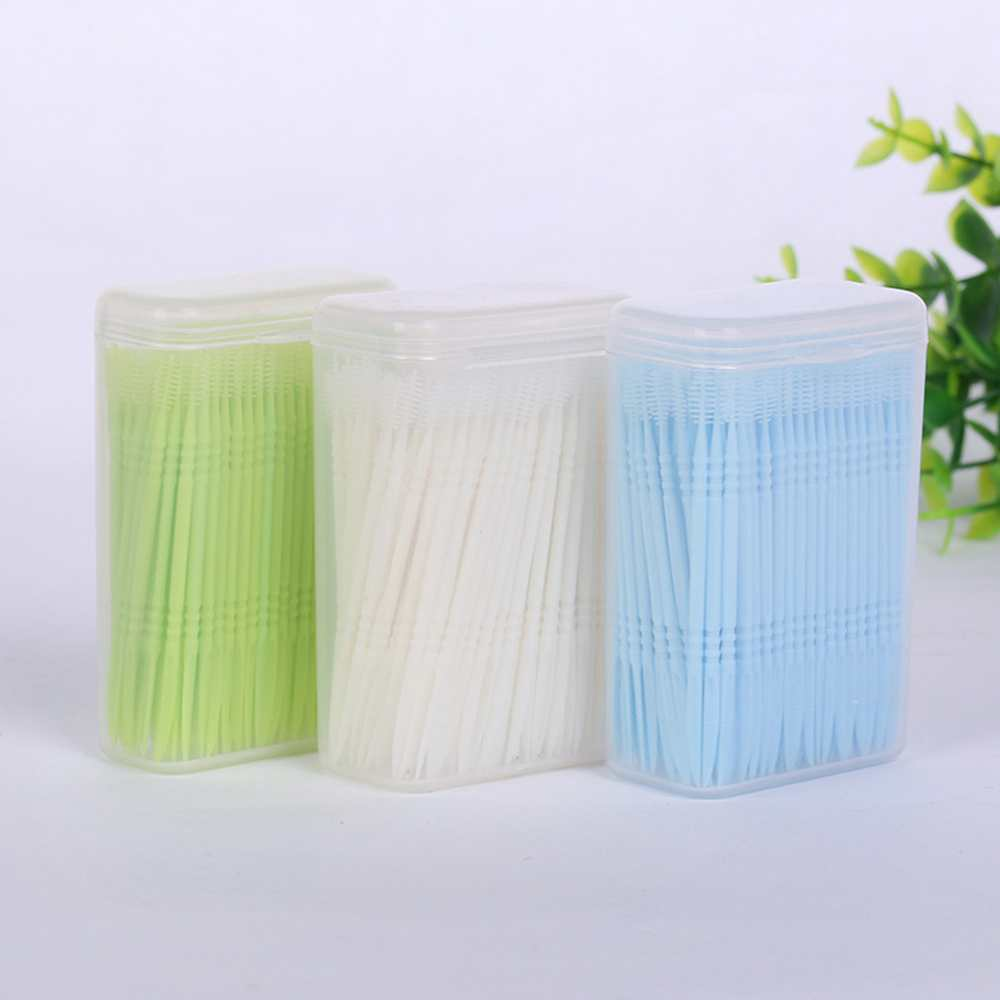 500pcs/pack 2 Way Oral Dental Tooth Pick Floss Interdental Brush Disposable Double-head Teethpick Oral Care Eco-Friendly