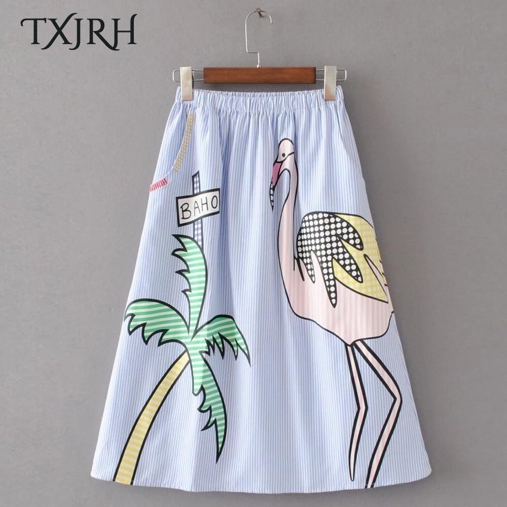 TXJRH Vintage Firebirds Palm Coconut Tree Print Stripe Pockets High Waist Knee-Length Swing A-Line Skirt Stylish Women Q17-03-46