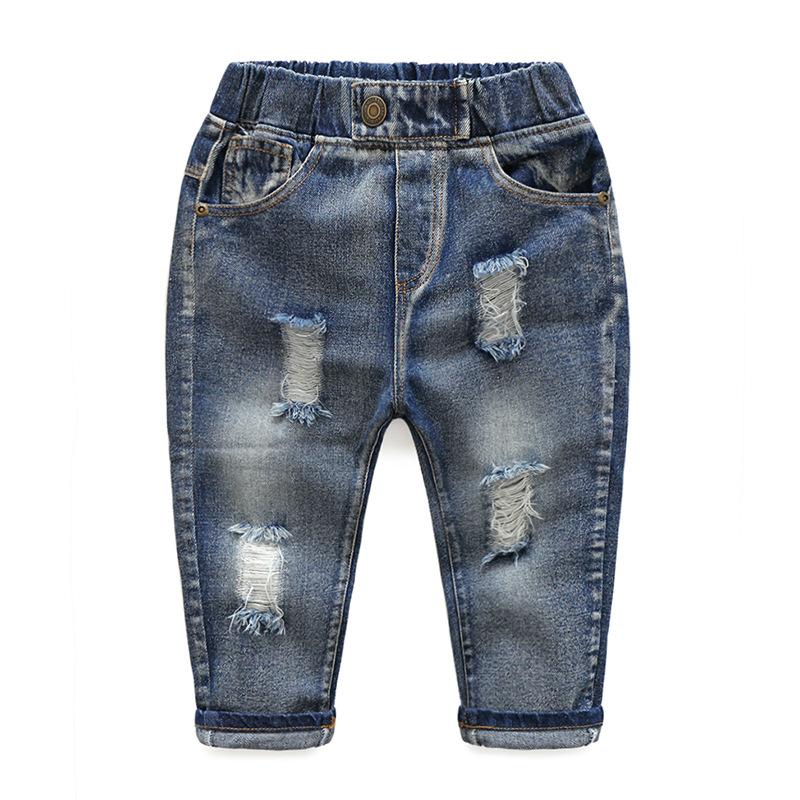Hole Jeans For Boys Elastic Waist Kids Denim Trousers Kids Cowboy Harem Pants Solid Boy Jeans 2017 Spring Children Jeans 2-6 Y  (4)