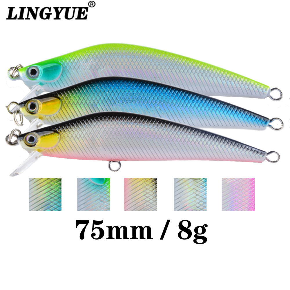 LINGYUE Hunchbacked Minnow Tight Wobbler Hard Bait Fishing Lure 75mm 8g Crankbait Topwater Isca Artificial Pesca Twinkling Body
