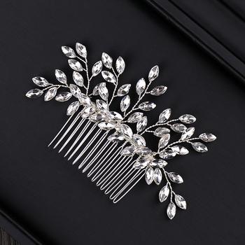 Luksusowe srebrne grzebienie do włosów akcesoria do włosów dla panny młodej kryształowe kobiety biżuteria do włosów ozdoba ślubna do włosów spinka do włosów biżuteria ślubna tanie i dobre opinie Moda Hairwear TRENDY PLANT FORSEVEN Włosów grzebienie Ze stopu cynku FS156 Silver 12cm