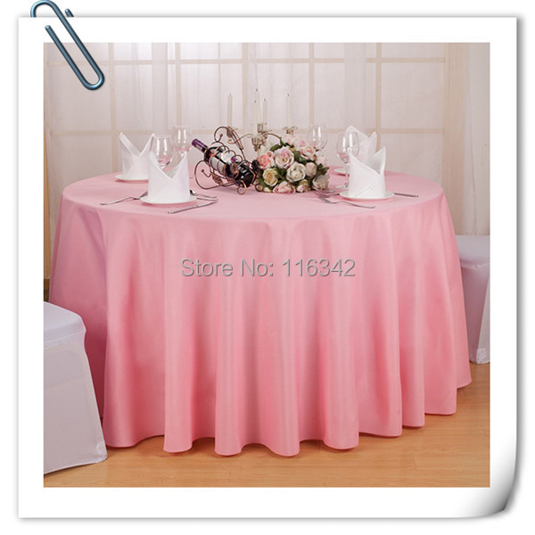 90 inch pink round polyester tablecloth 10pclot wedding favors table cloth cover free