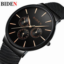 Biden mens 316L stainless steel wristwatches black silver rose gold Mesh belt man watches calendar week waterproof male clcoks(China)