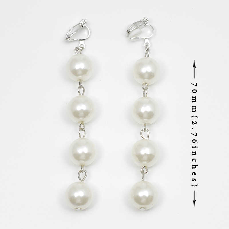 Simulated-Pearl Earrings No Hole Ear Clips Fashion Pearl Ball Clip Earrings Non Pierced Women Minimalist Long Earring Gift CE194