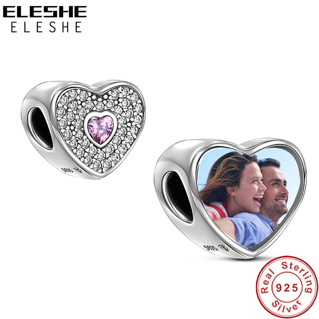 4a92bd27b ELESHE Personalized Custom Photo 925 Sterling Silver Crystal Heart Charms  Beads Fit Pandora Bracelet Bangle Original